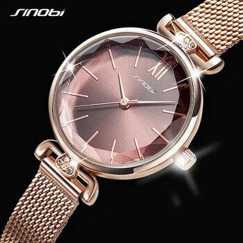 Women Watches SINOBI Fashion Watch Geneva Designer Ladies Luxury Brand Diamond Quartz Gold Wrist Gifts For
