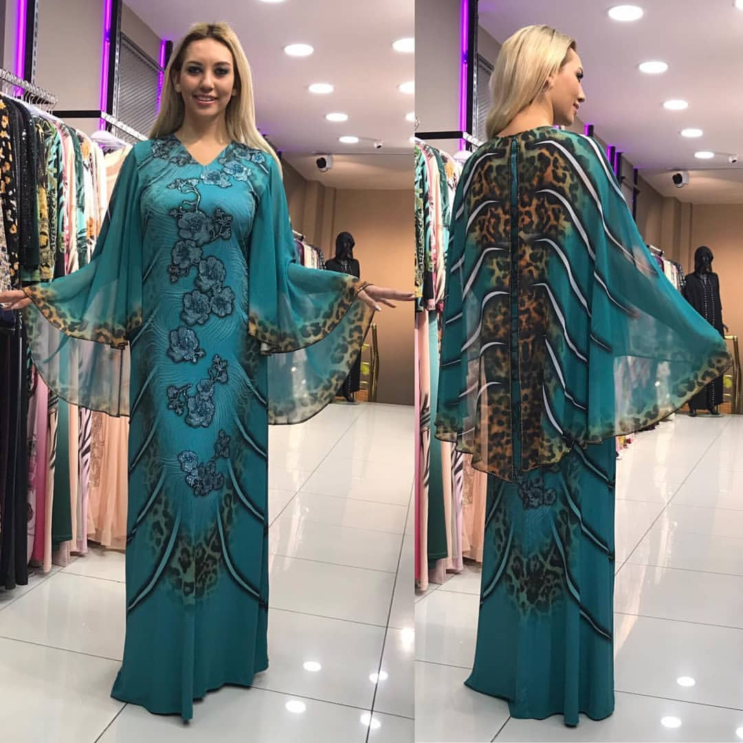 2019 New Arrival Elegent Fashion Style V-neck African Women Printing Plus Size Long Dress L-2XL