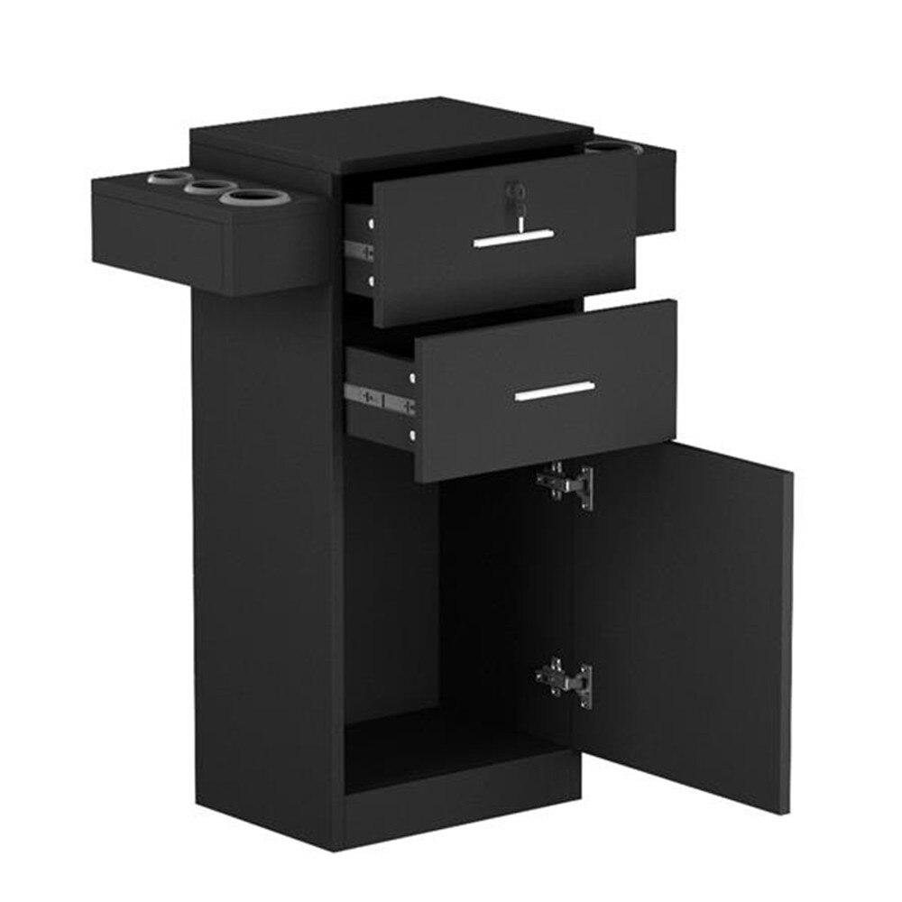 MDF и ABS пластик Парикмахерская Салон шкафчик фен стойка ящик с замком черный с двумя выдвижными ящиками аксессуары для хранения - 3