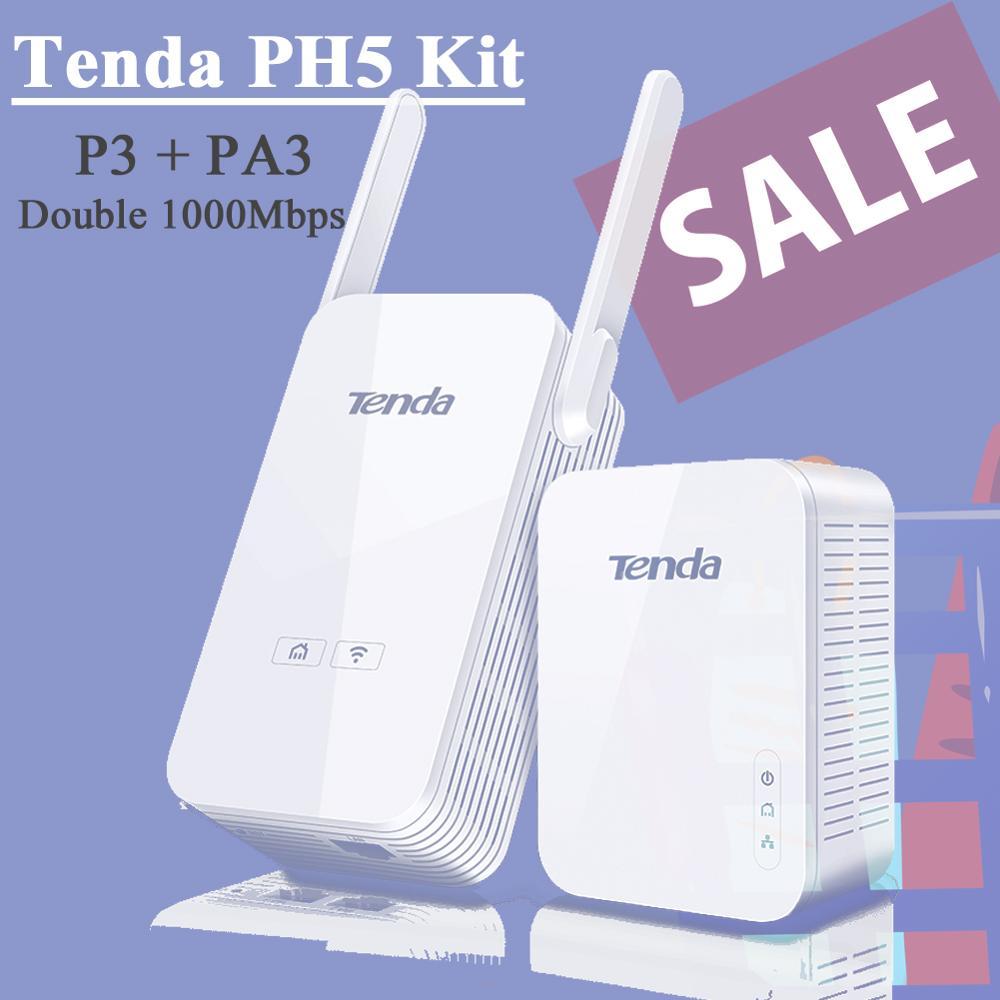 Tenda PH5 Powerline Wireless Extender Kit 1000Mbps 300Mbps WiFi Ethernet Adapter With Gigabit Ethernet Ports Tenda PA3 + P3 Kit