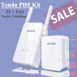 Tenda PH5 Powerline extensor inalámbrico Kit de 1000Mbps, 300Mbps WiFi adaptador Ethernet con puertos Gigabit Ethernet Tenda PA3 + P3 Kit