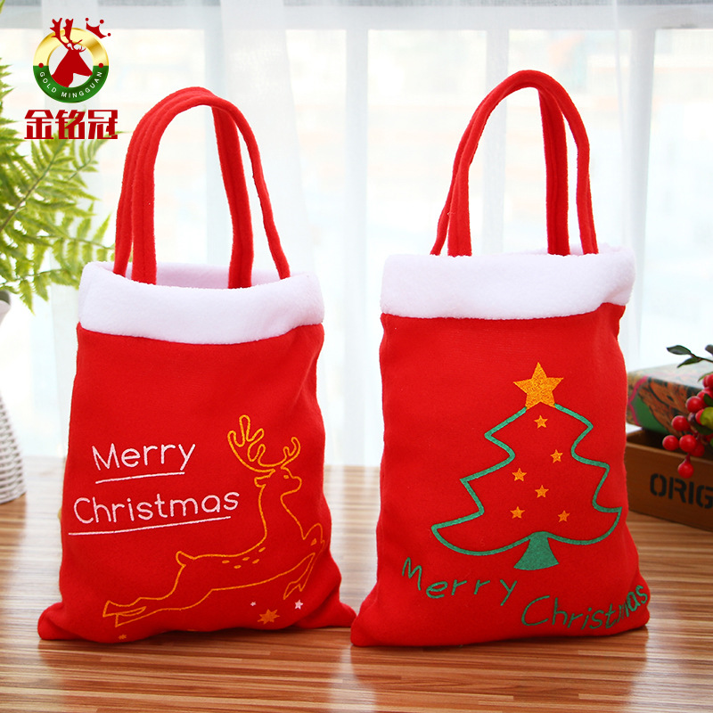 New Year Xmas Christmas Flannel Tote Bag Shoulder Bag Concise Letter Printing Shoulder Bags Ladies Duty Cotton Shopping Bags