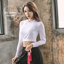Hooded Womens Yoga Shirts Long Sleeve Tops Sportswear Quick Dry T Shirt  Women Running Tee