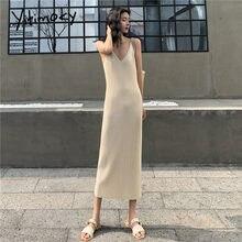 Yitimoky com nervuras de malha blusas vestidos 2021 feminino com decote em v preto streetwear blusas vestido feminino fino bege pullovers midi vestido