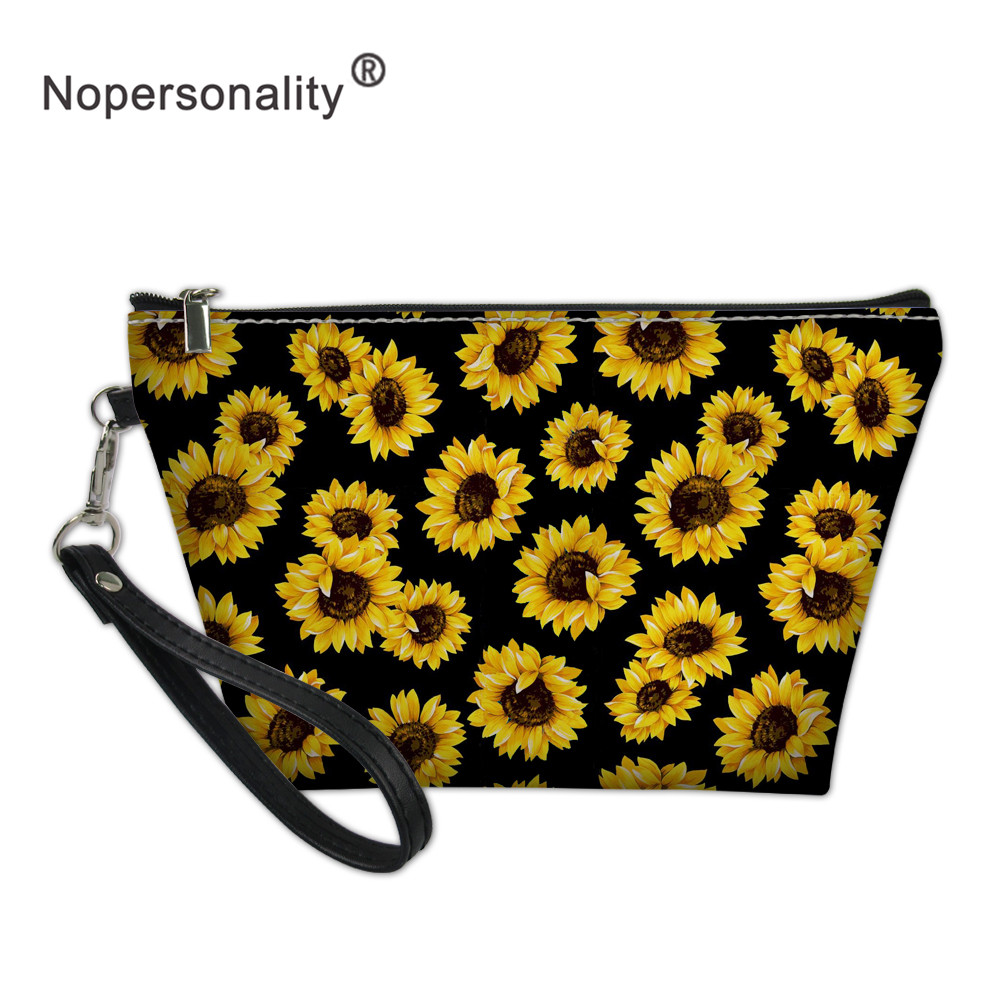 Nopersonality Sunflower Travel Cosmetic Bag Makeup Case Women Zipper Make Up Handbag Organizer Storage Pouch Toiletry Wash Bag