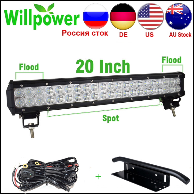Hot Sale Combo Beam 20 Inch 126w Offroad LED Light Bar Work Light 4x4 Car LED Light Bar 12v Wire Harness With Light Bar Bracket