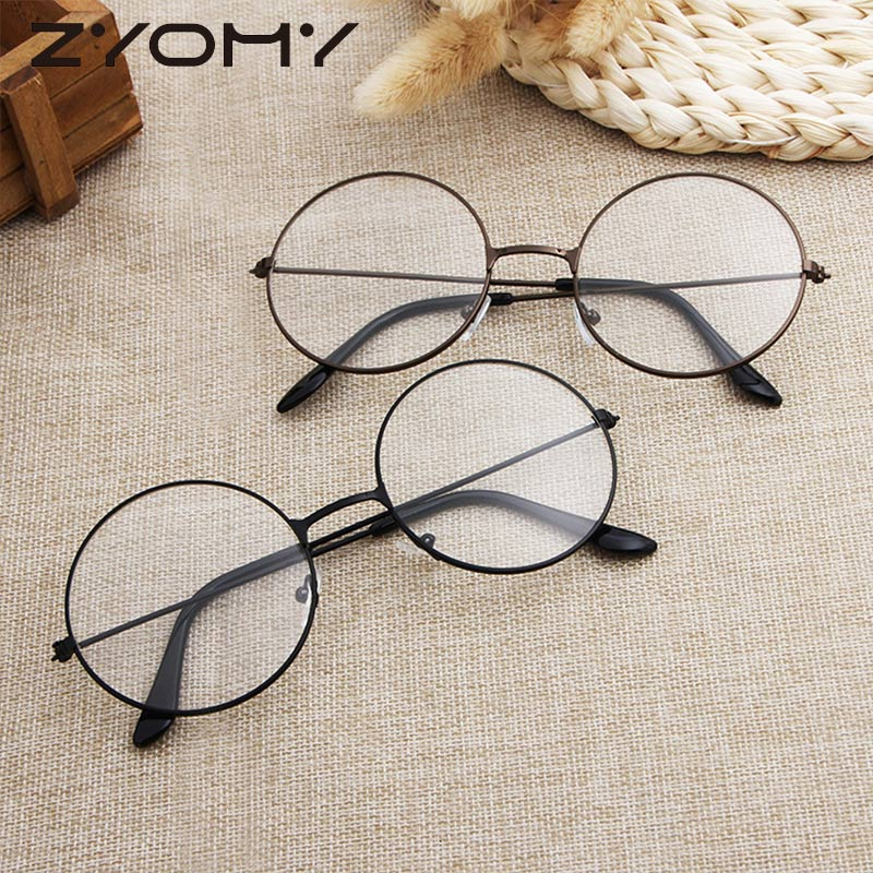 Korean Version Harajuku Optical Glasses Frame Reading Glasses Unisex Ultralight Decorative Frame Round Vintage Metal Flat Mirror