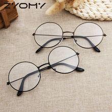 Montura de gafas ópticas Harajuku versión coreana, gafas de lectura, montura decorativa ultraligera Unisex, espejo plano de Metal Vintage redondo