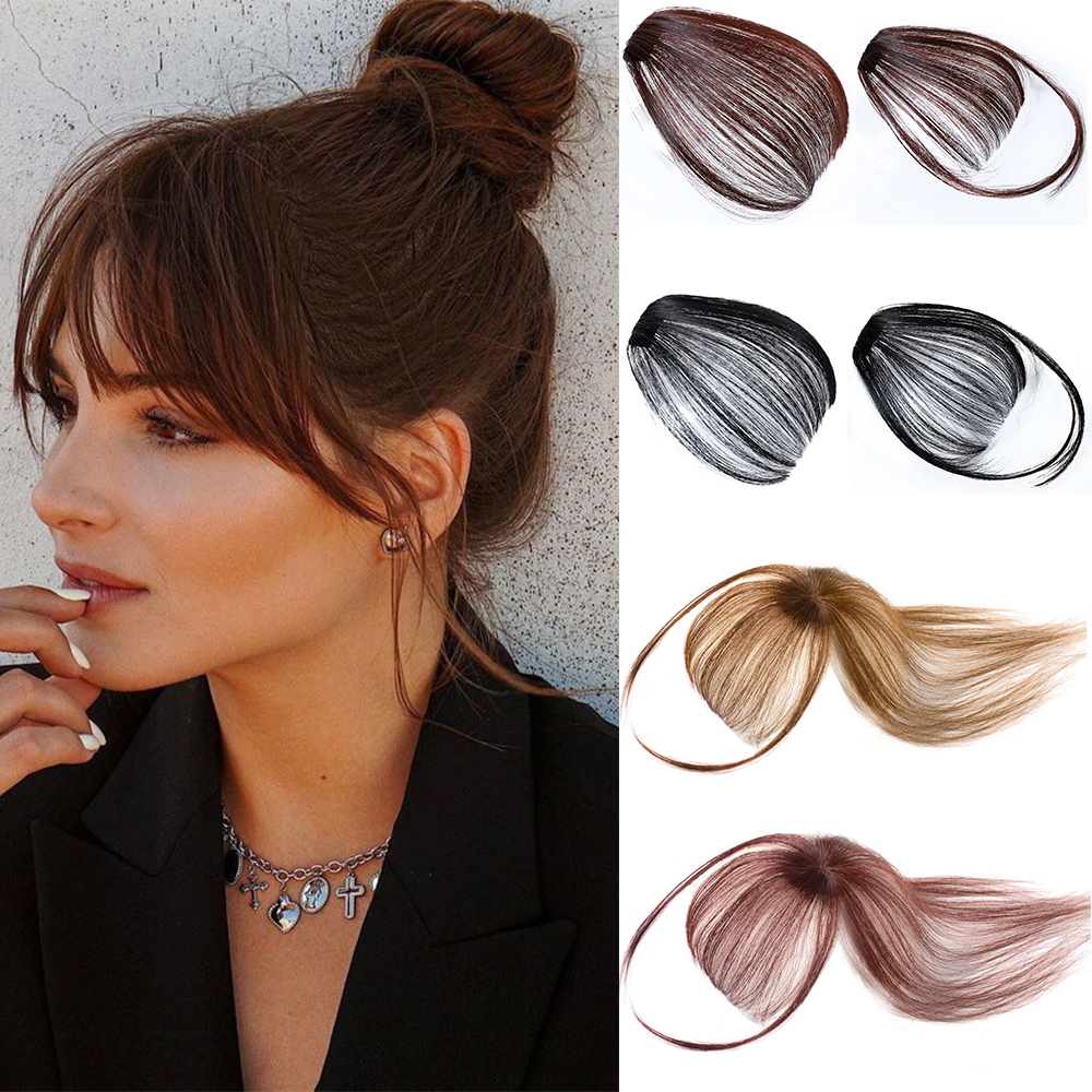 Челка для волос на клипсах спереди, аккуратная челка, бахрома, волосы для женщин, синтетические волосы на клипсах, аксессуары для наращивани...