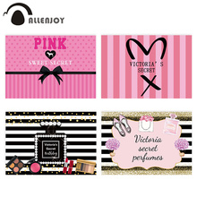 Allenjoy photophone background Pink victoria secret sweet 16 stripes bow polka dots birthday Party backdrop baby girl photocall
