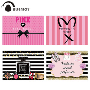 Image 1 - Allenjoy photophone background Pink victoria secret sweet 16 stripes bow polka dots birthday Party backdrop baby girl photocall