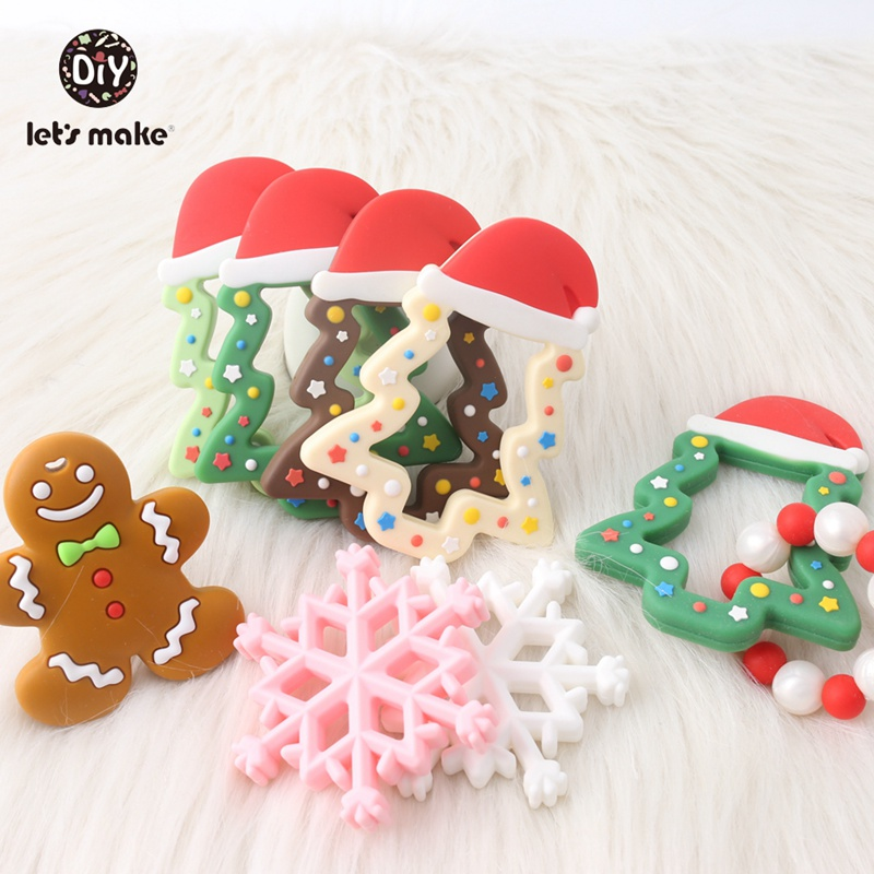 Let's Make Baby Teether Rodent Christmas Gifts Star Socks Deer Elk Gingerbread Man Tree Snowflake DIY BPA Free Silicone Teething