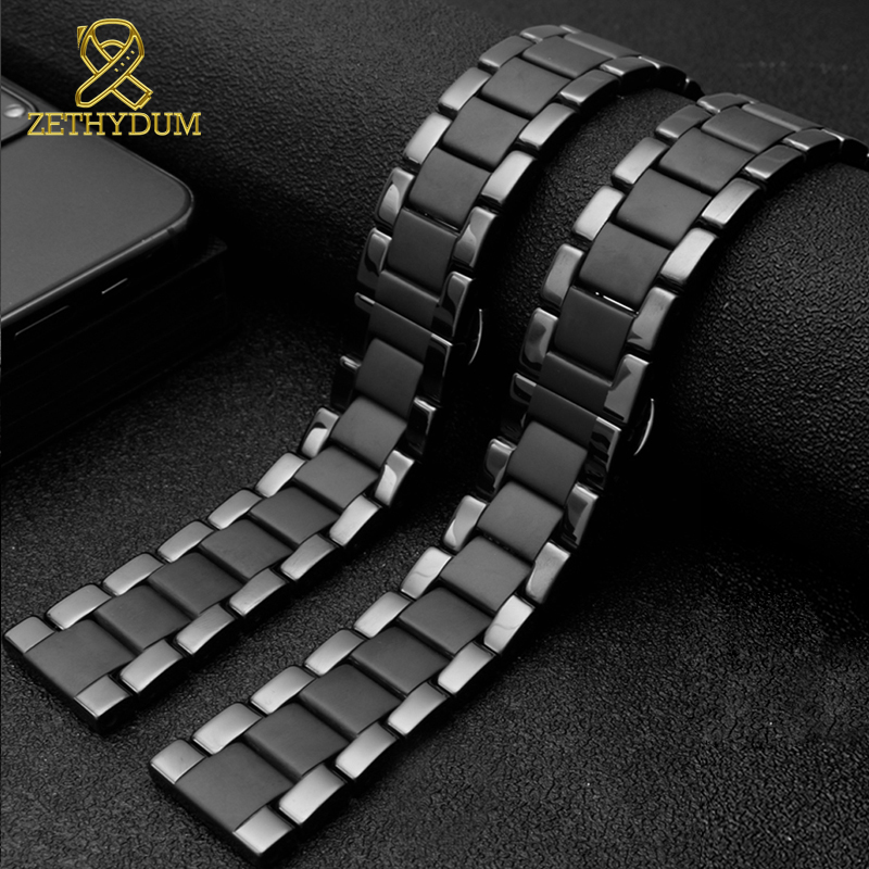 Ceramic Watch Band For Huawei Watch GT 2 Strap Quick Release Bar Watchband 18mm 20mm 22mm Watch Bracelet Matte Black Color