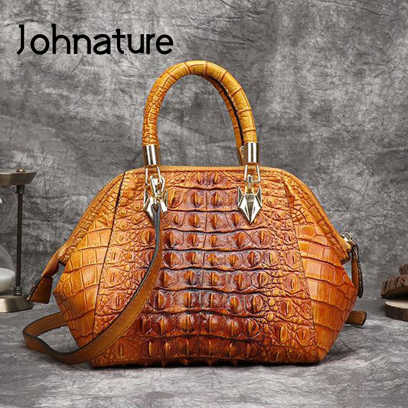 Johnature Genuine Leather Bag Hand Painted Alligator Embossing Women Handbag 2020 New Retro Cowhide Shoulder Messenger Bag