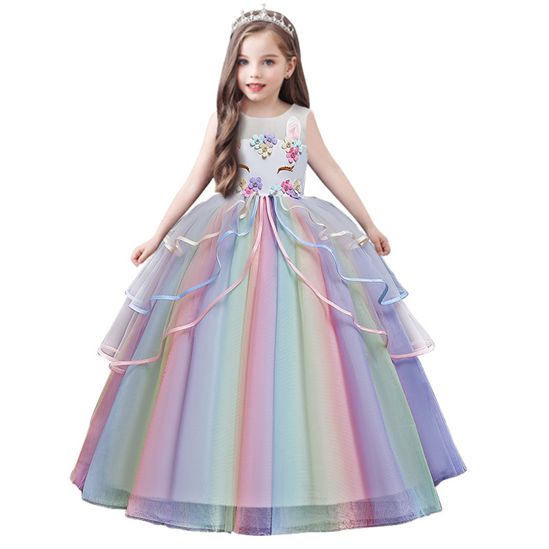 Girls Dress Summer Kids Princess Unicorn Dresses For Girls Lace Bridesmaid Wedding Party Dress Children Clothing 8 10 12 14 Year