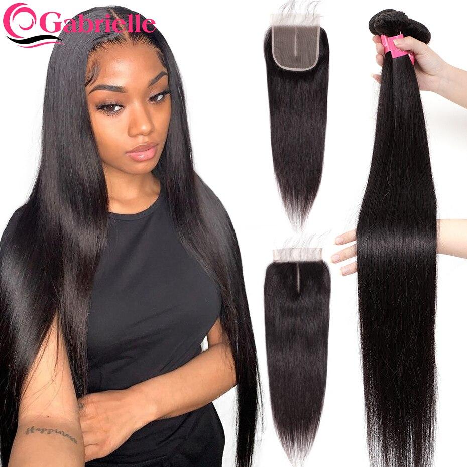 Gabrielle Knochen Gerade 3 Bundles mit Clousre Brasilianische Menschliches Haar 5x5 Spitze Verschluss mit Bundles Natürliche Remy Haar extensions