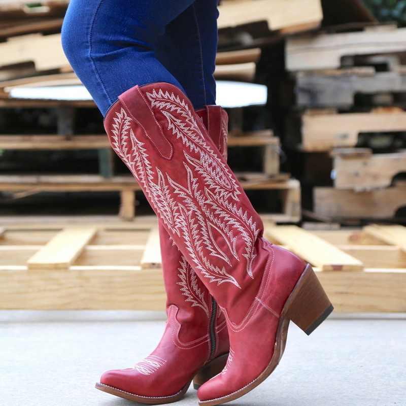 MoneRffi נשים מגפי קלאסי רקום מערבי קאובוי מגפי מחודדת הבוהן עור Cowgirl מגפי נמוך עקבים נעלי הברך גבוהה מגפיים
