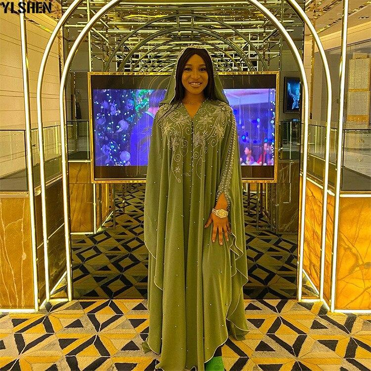 Length 150cm Africa Dress African Dresses for Women Dashiki Diamond Beaded Traditional Boubou African Clothes Abaya Muslim Dress 07