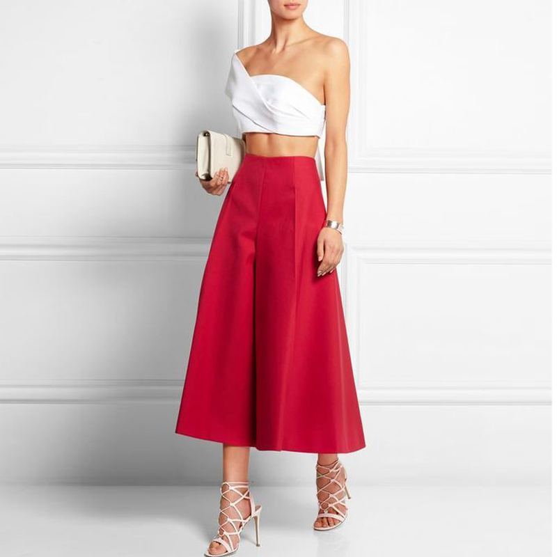 Fashion Red Midi Culottes Women Puffy Maxi Skirt Custom Made Formal Office Lady Wear All Seasons Custom Made image