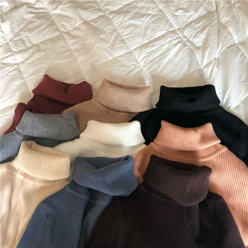 Women Turtleneck Sweaters Autumn Winter Korean Slim Pullover Women Basic Tops Casual Soft Knit Sweater Soft Warm Jumper 6