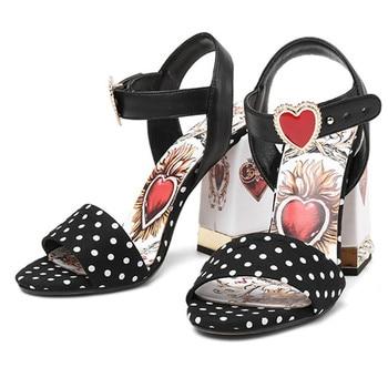 AGODOR women sandals genuine leather Polka Dot heart Pearl sweet ladies shoes Summer High Heel Women Sandals Sandalias Mujer