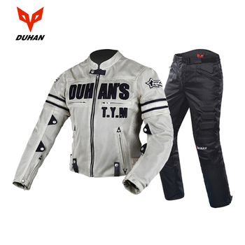 DUHAN Motorcycle Jacket + Motorcycle Pants Men Breathable Mesh Racing Moto Jacket Riding Motorcycle Clothing Protective Gear duhan summer motorcycle jacket men breathable mesh riding moto jacket motorcycle body armor protector moto cross clothing