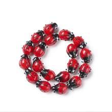 Fil de perles 3D coccinelle, 20 pièces/lot, pour fabrication de bijoux, collier, Bracelet, fait à la main