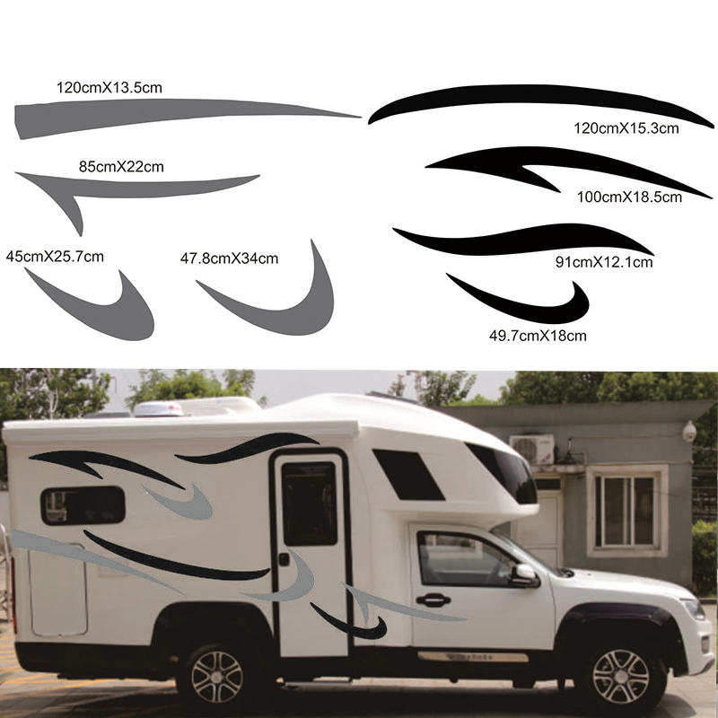 2 x Stripes Graphics Vinyl Graphics <font><b>Decals</b></font> Car <font><b>Stickers</b></font> for <font><b>Motorhome</b></font> Caravan Travel Trailer Camper Van image