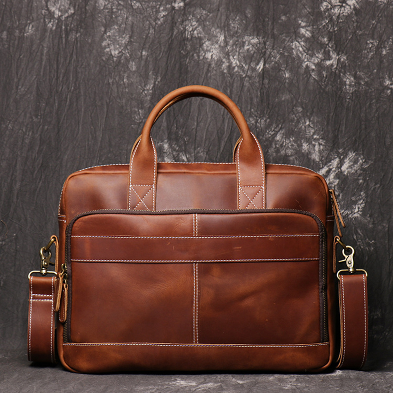 Men Briefcase Genuine Leather Laptop Bag Crazy Horse Leather Briefcase Business Tote Bag Cowhide Mens Briefcases