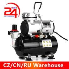 Kkmoon Airbrush spray paint Spray Gun Compressor Tornador Oil less Quiet High pressure Pump 220 240V Spraying Gun Tools AS 186