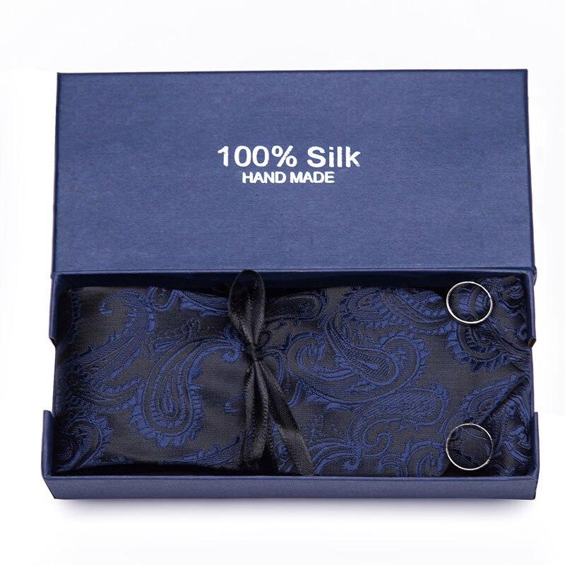 New Woven Classic Men Tie Necktie Blue Plaid 100% Silk Tie Pocket Square Party Wedding Handkerchief Cufflinks Tie Set Gift Box