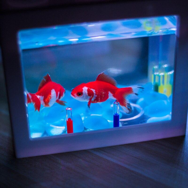 10 Mini Bettas Fish Tank LED Aquarium Mini Fish Bowls Block Reptile Box USB Charger Office Table Decoration Ocean Betta Turtle Box