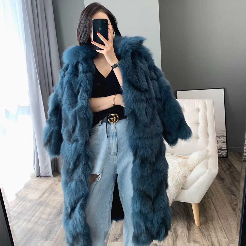 Winert 本物のキツネの毛皮のコートの女性 2019 新ファッションリアルファージャケットロングコートプラスサイズ高級服厚く暖かいストリート