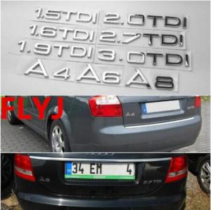 1.9 2.0 2.7 3.0 TDI quattro Letters Silver Chrome Emblem Car Styling Rear Trunk Discharging Mark Sticker for Audi A7 A8 A6L Q7