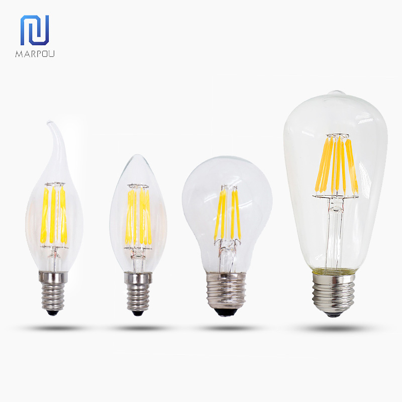4pc LED Filament Candle Light Crystal Lamp Vintage Bulb <font><b>E14</b></font> AC 220V <font><b>110V</b></font> Incandescent Globe <font><b>Ampoule</b></font> Edison Lighting Dimmabl Home image