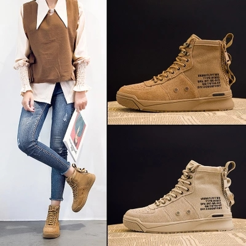 2018 Autumn new high-cut Sneakers female Korean version of the round head side zipper wild women's shoes sports wind DP-329