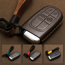 For Jeep Grand Chrysler 300 Dodge Remote Car Key Fob Case Cover Genuine Leather Retro Style