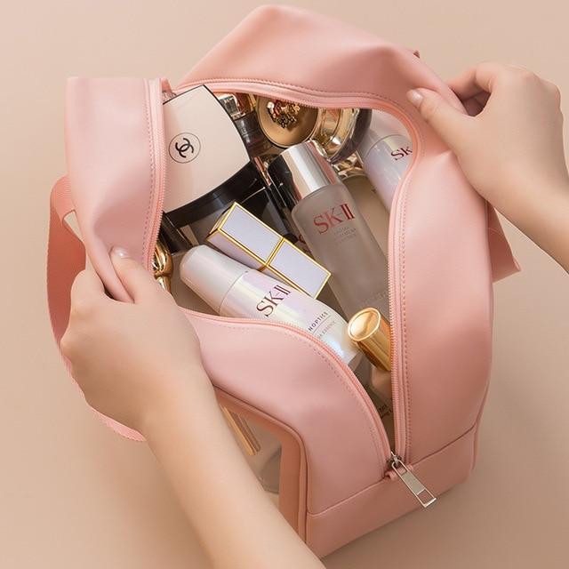 PVC Transparent Waterproof Cosmetic Bag for Women Large Capacity Portable Travel Scrub Toilet Makeup Bag Dressing Storage Bag 2