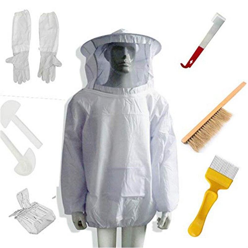 Beekeeping Beekeeper Suit Bee Jacket Gloves Bee Hive Brush J Hook Hive Tool Set 8 Kits