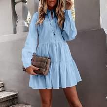 Celmia 2021 automne femmes à manches longues solide plissé chemise robe décontracté volants lâche Mini robe dames une ligne bureau Vestidos 5XL
