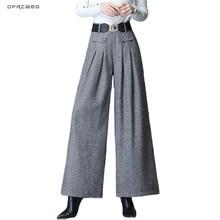 4XL свободные зимние шерстяные Широкие штаны с высокой талией для женщин осенние повседневные женские прямые брюки размера плюс для женщин