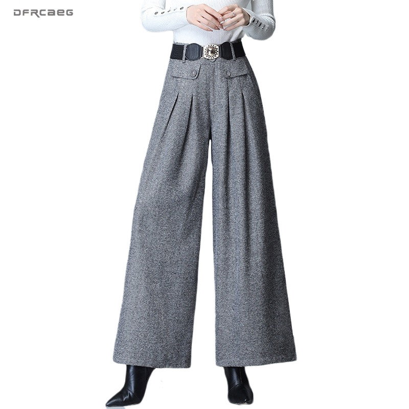 FASHION Winter Women Wool High Waist Straight Pants Casual Wide Leg Trouser PLUS