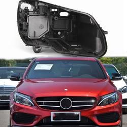W205 powłoki przedni reflektor pokrywa czarna podstawa reflektor powrót shell dla Mercedes Benz klasy C W205 C180 C200L C260L c280 C300 2015|Osłony lamp|Samochody i motocykle -