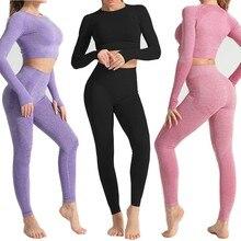 Ensembles de Yoga sans couture pour femmes, combinaisons de sport Fitness, vêtements de gymnastique, chemises à manches longues, taille haute, Leggings de course, pantalons d'entraînement, hauts