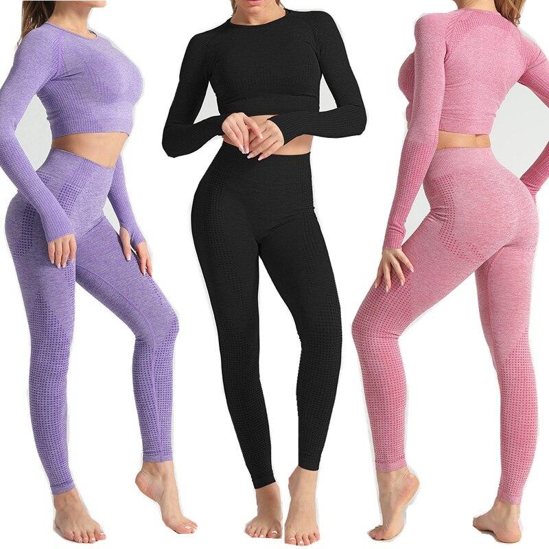 Women Seamless yoga set Fitness Sports Suits GYM Cloth Yoga Long Sleeve Shirts High Waist Running Leggings Workout Pants Shirts(China)