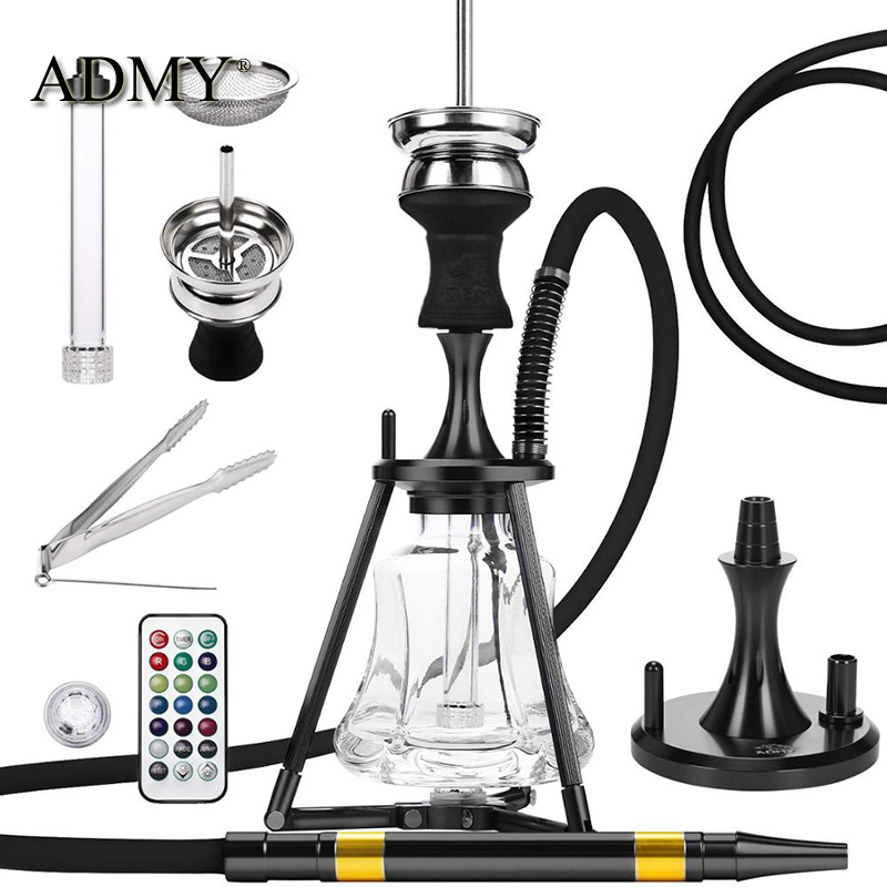 ADMY Aluminum Alloy Hookah Outdoor Portable Travel Shisha Narguile Nargile Smoking Water Pipe With LED Light For Night
