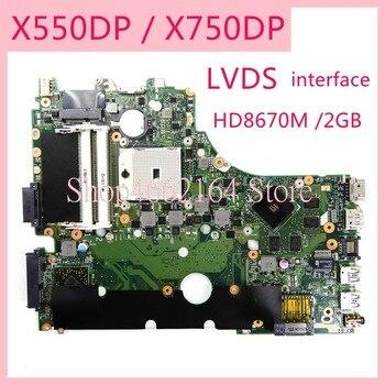 X550DP X750DP notebook mainboard HD8670M /2GB LVDS interface REV2.0 For ASUS X550D X550DP X750 X750D X750DP Laptop motherboard