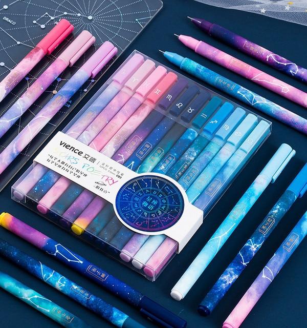 1PC Constellation Gel Pen Kawaii Starry Gel Pen 0.5mm Smooth Writing Black Ink Neutral Pen School Office Supplies Stationery 1