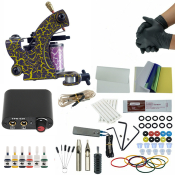 Complete Tattoo Machine Kit Set Coils Guns 6 Colors Pigment Sets Power Tatoo Beginner Grips Kits Body Art Tool Set complete tattoo kits 8 wrap coils guns machine 1 6oz black tattoo ink sets power supply disposable needle free shipping