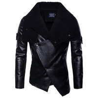 Plus Size Leather Jacket Men Autumn Winter 2019 Vintage Casual Punk Irregular Leather Motorcycle jacket men Coat Chaqueta Hombre